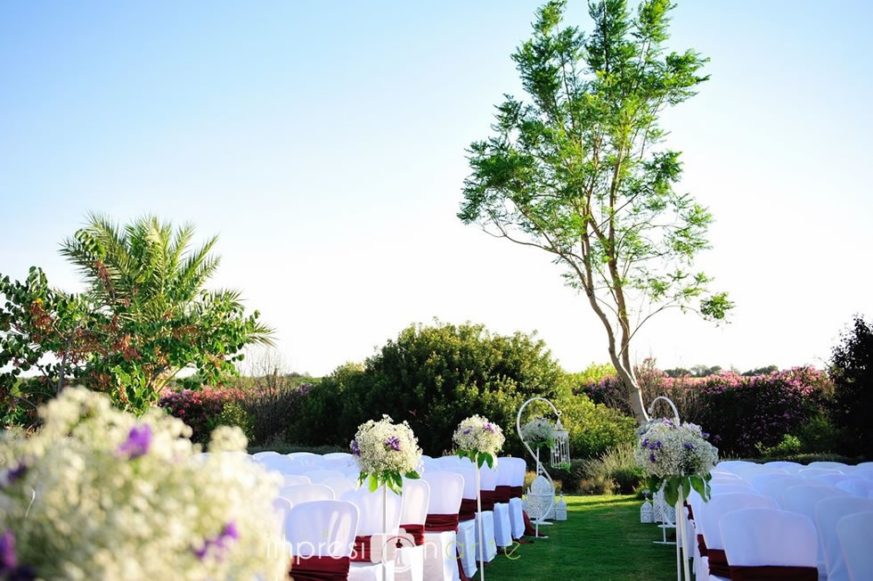 Vista delantera del lugar de la ceremonia de la boda de Raul y Alicia en Hacienda Los Molinillos