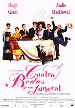 """Carátula de la película """"Cuatro bodas y un funeral"""""""