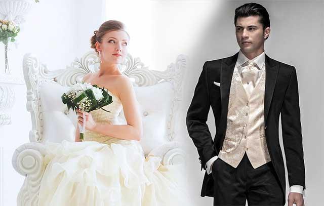 vestido de novia y traje de novio