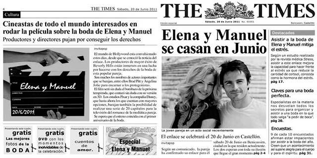 Otra invitación divertida y original, publicándo vuestra boda en un periódico