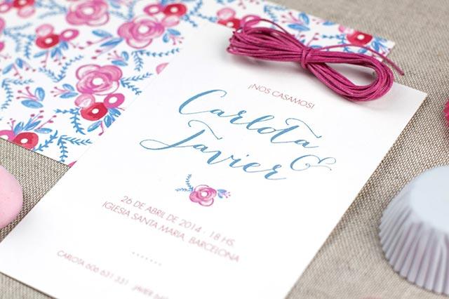 Preciosa invitación de boda realizada en acuarela