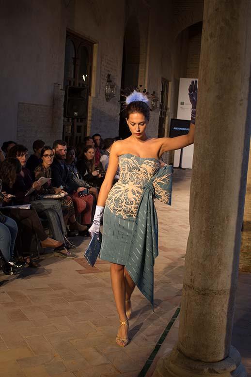 Vestido estampado turquesa Antonio Postigo