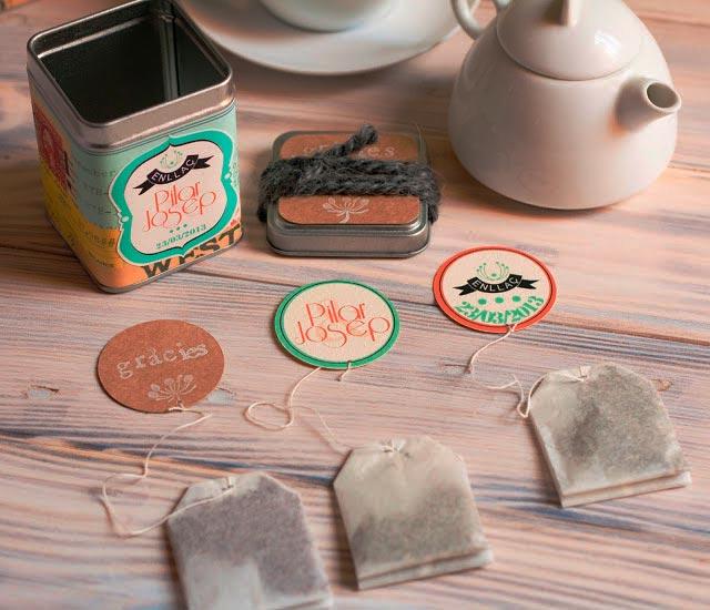 Cajitas de té para nuestros invitados de boda