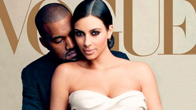 Kim Kardashian y Kanye West posando durante su carísima boda