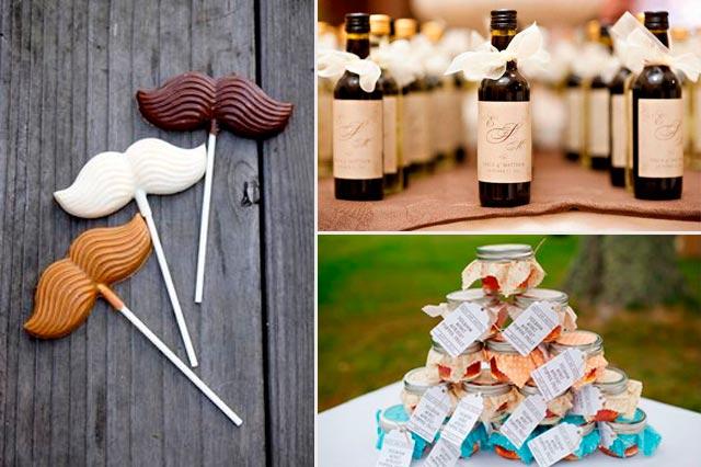 Piruletas de chocolate, licores y tarros de mermelada como regalo para invitados a una boda