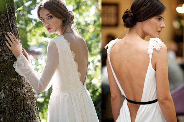 Detalles de la espalda al aire de vestidos de novia, diseños de la coleeción 2017 de Helena Mareque y David Christian