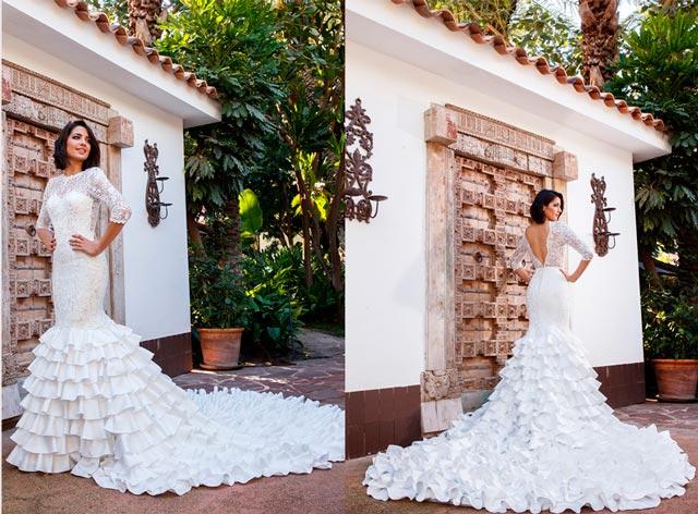 Vestido de novia con inspiración flamenca de la diseñadora Silvia Navarro