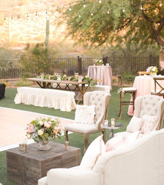 Planificación de mesas en boda estilo rústico cóctel