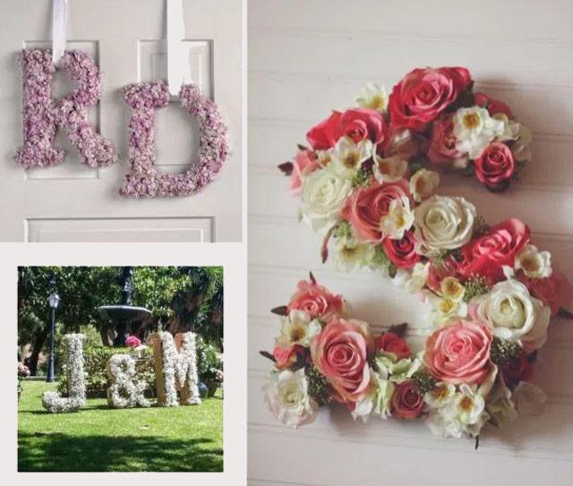 Ideas de letras con flores de bodas