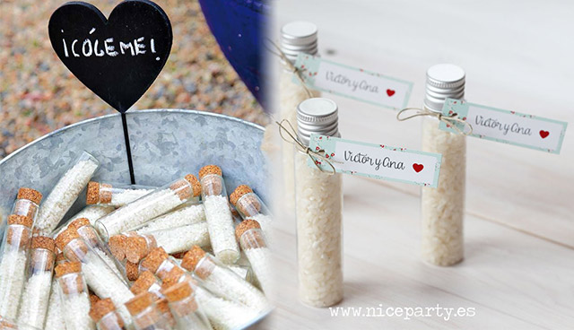 Ideas para colocar el arroz en las bodas utilizando tubos de cristal