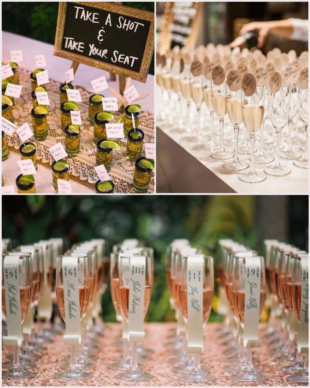 Ideas originales para el Seating Plan de una bodas: Copas para brindar en el cóctel