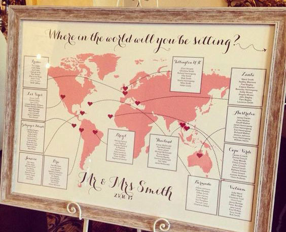 Ideas originales para el Seating Plan de una bodas: Mapa del mundo