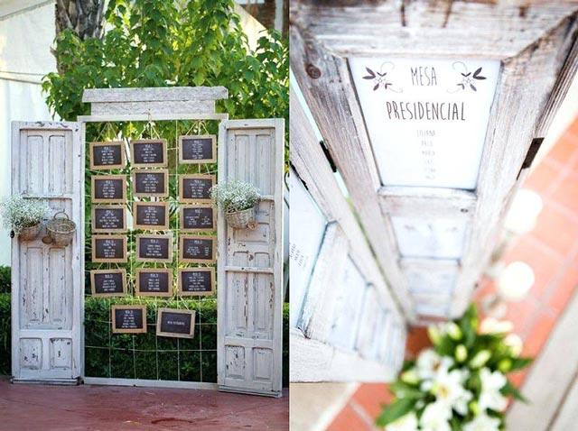 Ideas originales para el Seating Plan de una bodas: Puertas de madera y enrejado