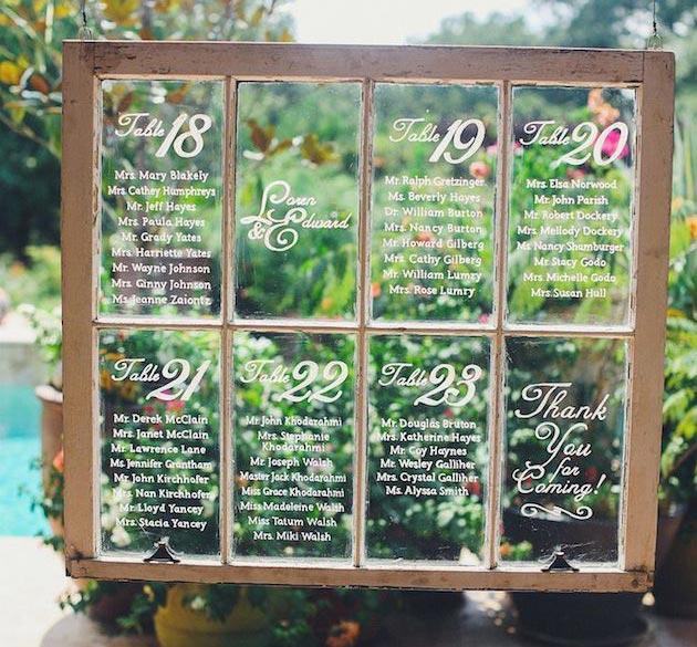 Ideas originales para el Seating Plan de una bodas: Ventanal de cristal
