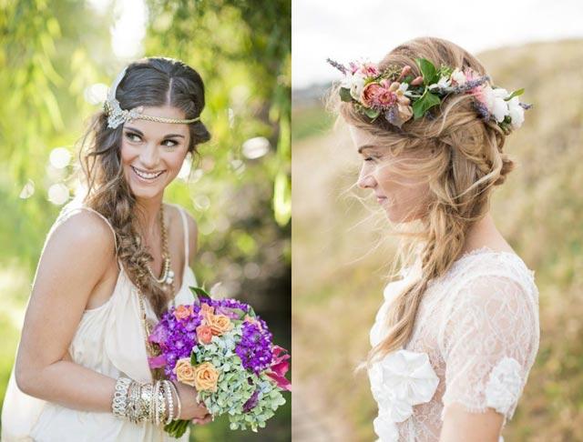Peinados con coronas de flores para novias que celebran su boda en otoño