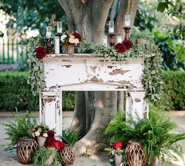 Chimenea exterior en una boda