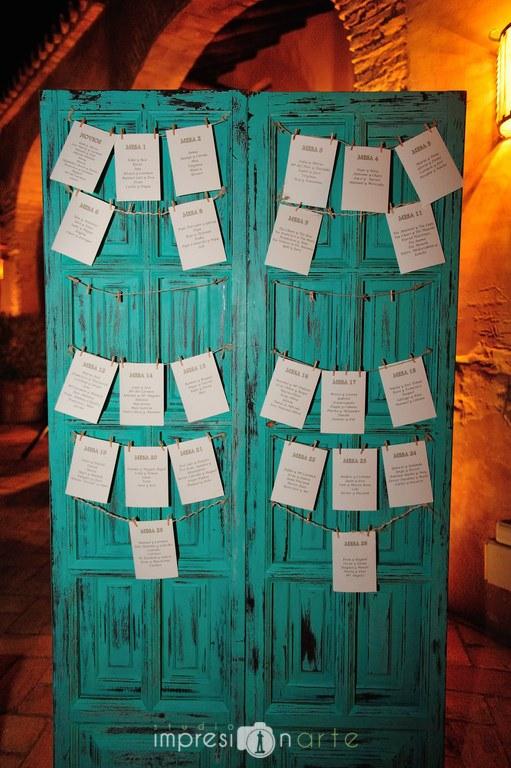 Boda de Alicia y Raul. Detalle del Seatting Plan para la distribución de comensales