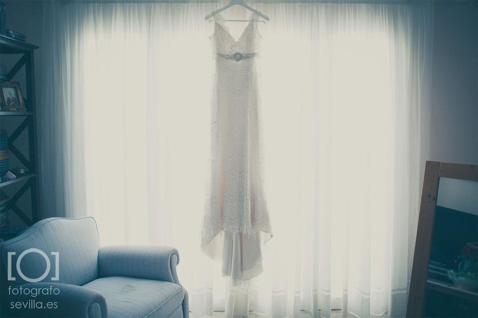 Vestido de novia de Marta antes de vestirse para su boda