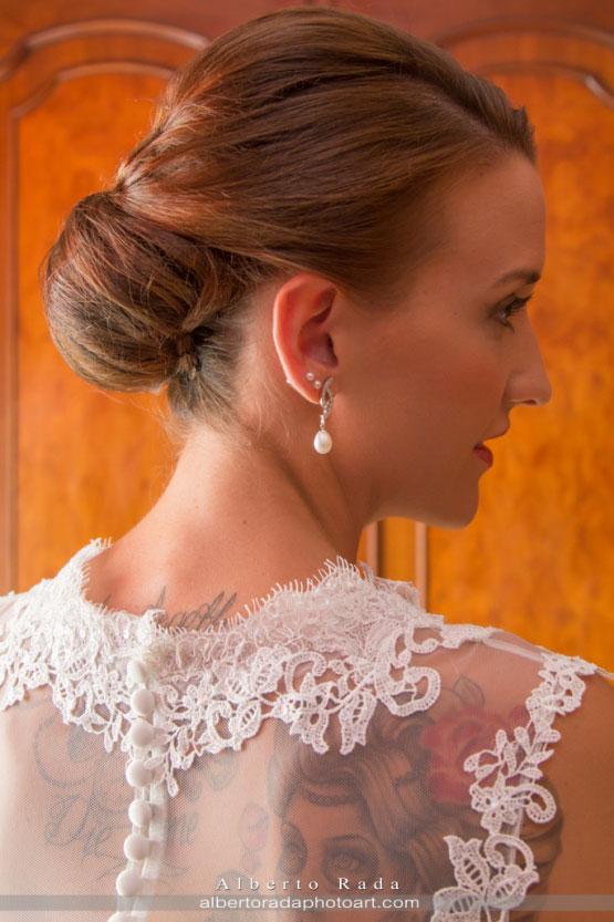 Encajes del vestido de novia de María