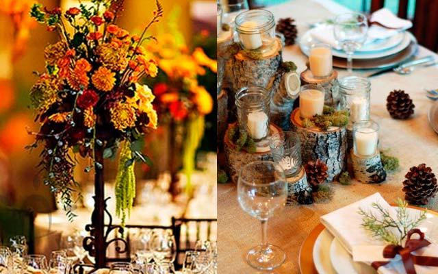 Centros de mesa naturales para bodas otoñales