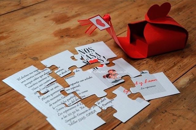 Invitación de boda en forma de puzzle o rompecabezas