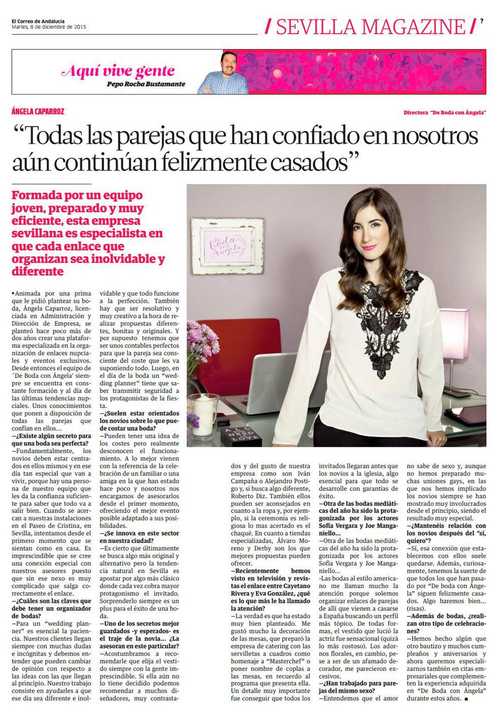 De Boda con Ángela entrevistada por el magazine de El Correo de Andalucía