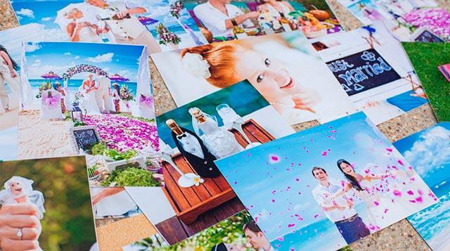 Collage con fotos de recuerdo de vuestra boda en la playa