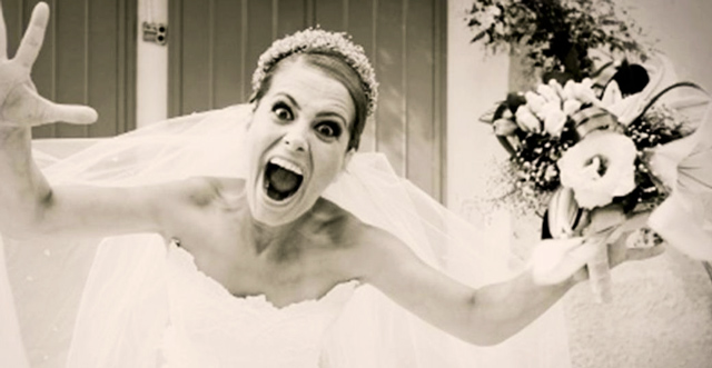 Novia nerviosa antes de su boda
