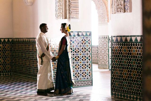 Sesión de fotos en el Alcazar de Sevilla, en la boda hindú de Pooj & Siva