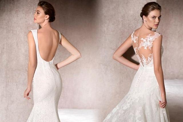 Detalles de la espalda al aire de vestidos de novia, diseños de la coleeción 2017 de Gala Novias