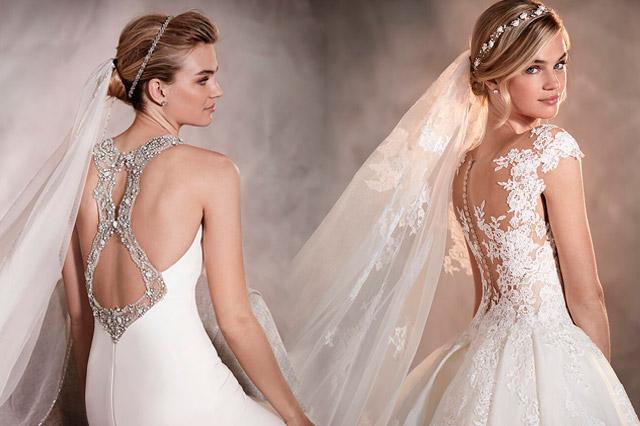 Detalles de la espalda al aire de vestidos de novia, diseños de la coleeción 2017 de Pronovias
