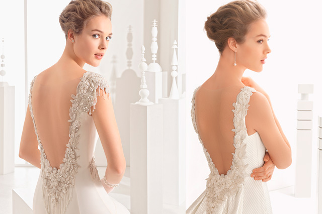Detalles de la espalda al aire de vestidos de novia, diseños de la coleeción 2017 de Rosa Clará