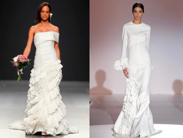 Vestido de novia con inspiración flamenca de los diseñadores Devota & Lomba y Juana Martín respectivamente