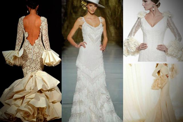 Vestidos de novia inspirados en la moda flamenca con volantes