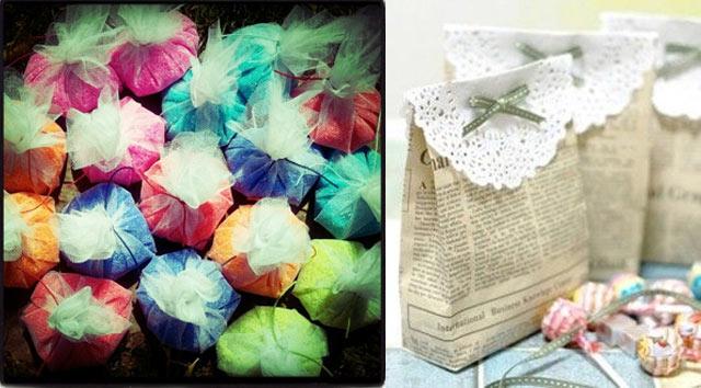 Ideas para colocar el arroz en las bodas utilizando bolsitas