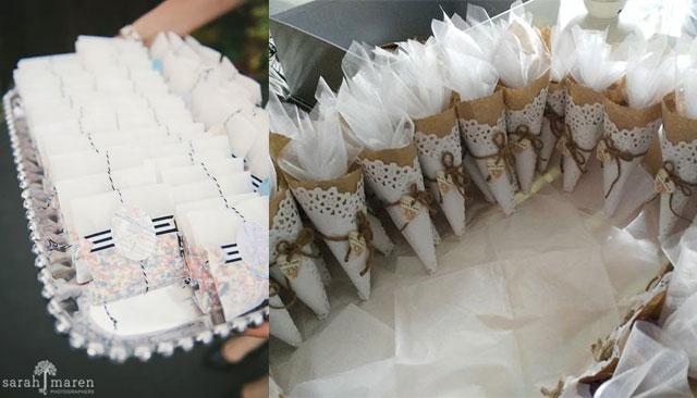 Ideas para colocar el arroz en las bodas utilizando conos