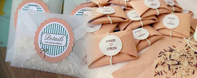 Ideas para colocar el arroz en las bodas utilizando sobres