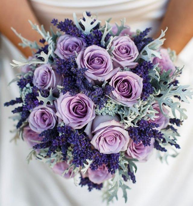 Ramo de novia en tonos lilas