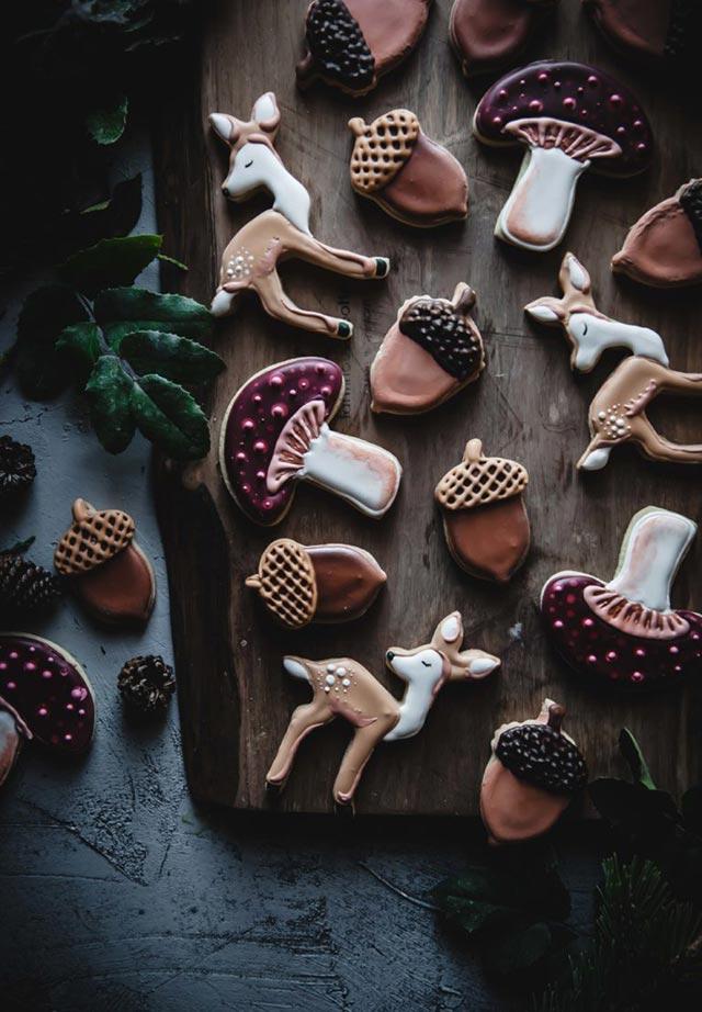 Galletas de Navidad con formas de frutos y animales del bosque