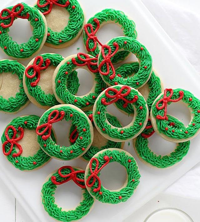 Galletas de Navidad con forma de muérdago