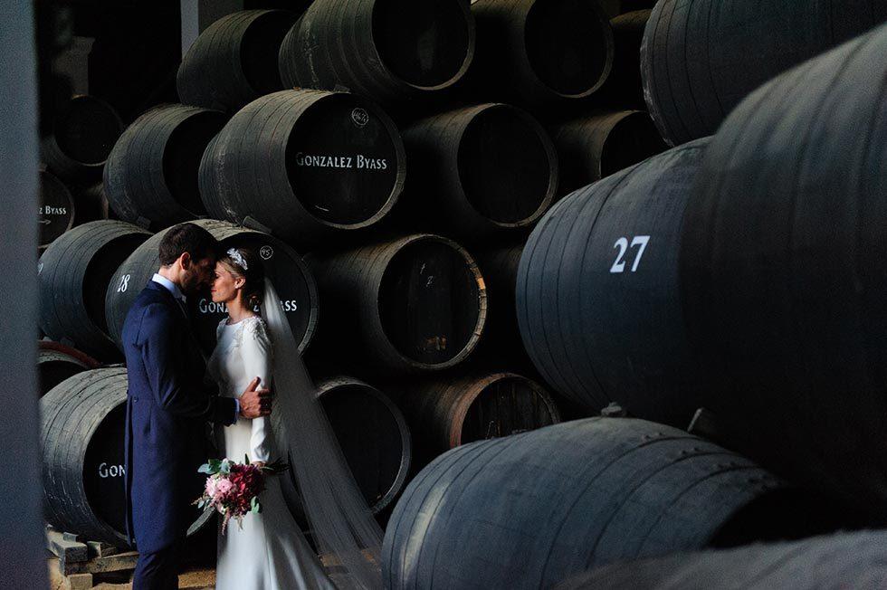 Organización de la boda de María y Pedro, celebrada en las Bodegas González Byass, en Jerez de la Frontera (Cádiz)